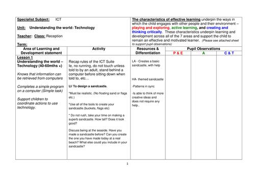 ICT Reception Scheme of Work