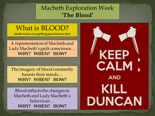 KS2/3/4/5 Macbeth Exploration Week - Lesson 3: 'The Blood'