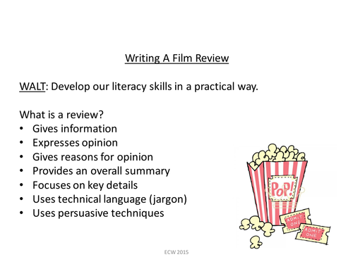 writing a film review by em2702 teaching resources