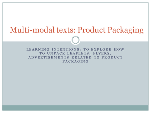 GCSE English Language: Analysis of Multi-Modal Texts - Product Packaging