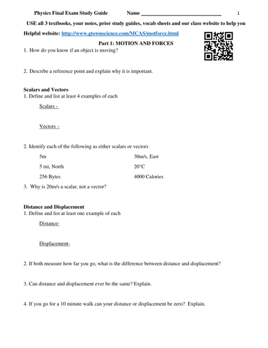 Physics Final Exam Study Guide Review Worksheet By