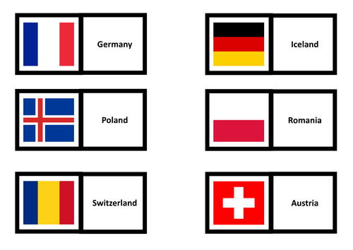 Euro 2016 country dominoes - flags, capitals and maps