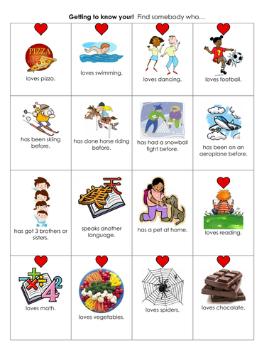 Getting to know you and your class bingo