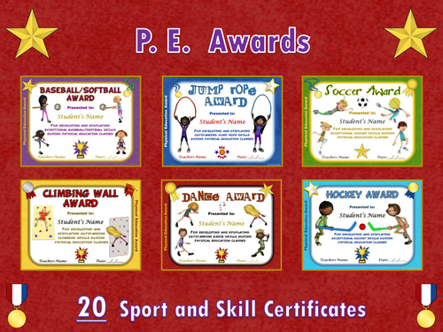 pe awards 20 sport and skill certificates by ejpc2222 teaching