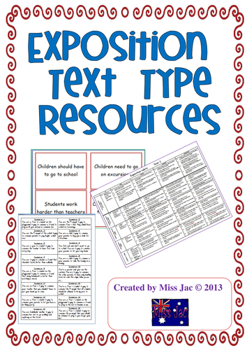 Exposition Or Persuasive Argument Genre Text Type Resources For