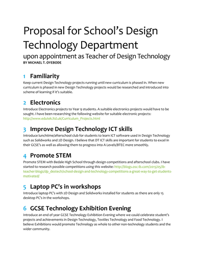 How to write a Design Technology / Engineering department proposal