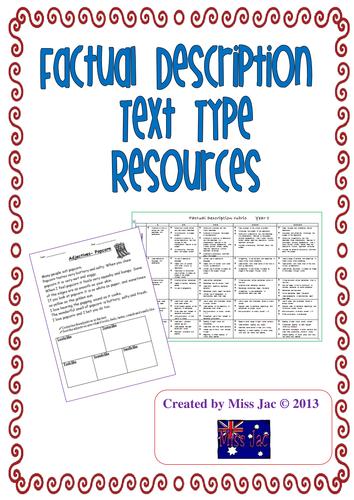 Factual description genre/ text type resources