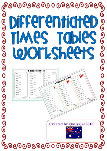 Differentiated (3 Chilli levels) Times Tables Worksheets
