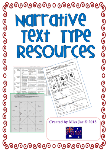 narrative genre / text type resources for writing