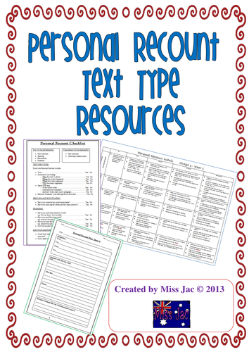 Personal Recount genre / text type resources for writing