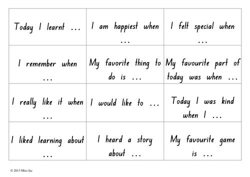 Sharing circle thought cards: 24 sentence prompt cards to use during circle time