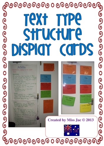 Genre Text Type Structure Display Cards For The Writing Forms By