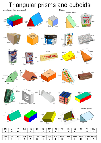 Volumes of cuboids and triangular prisms (self marking)