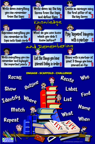 Lesson Activities Poster [extensions] 1 (Knowledge and Remembering)
