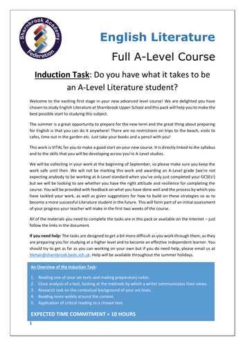 A-Level Literature Induction Task