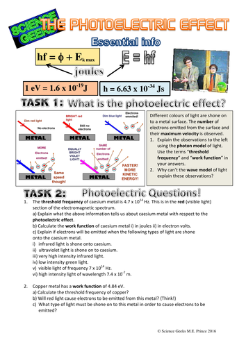 A LEVEL PHYSICS - THE PHOTOELECTRIC EFFECT WORKSHEET