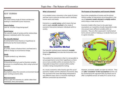 EDEXCEL Economics - The Nature of Economics (Topic One)