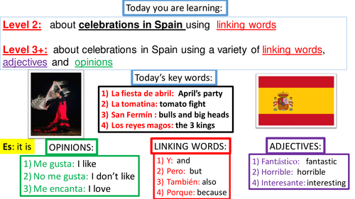 KS2-KS3 SPANISH TRANSITION LESSON: CELEBRATIONS IN SPAIN