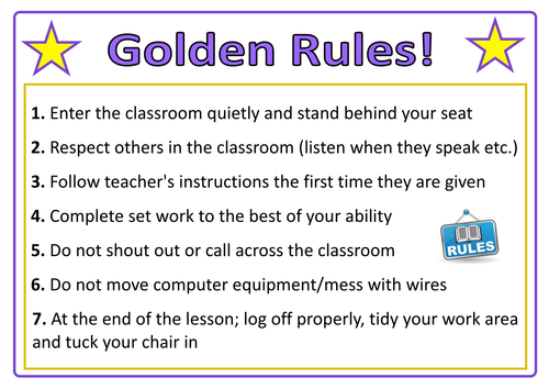 Primary School Classroom Design Standards ~ Classroom rules poster for ict suite computer room