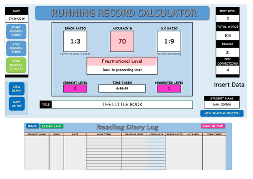 Reading Running Record Calculator and Automatic Reading Diary Log