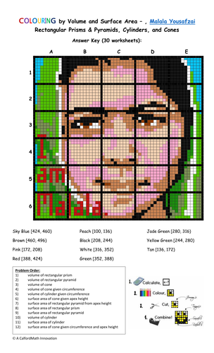 Colouring By Volume And Surface Area Malala Yousafzai 30 Worksheet