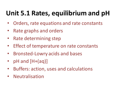 Rate of Reaction - OCR A Level Chemistry (Orders, Rate equations and rate constants)