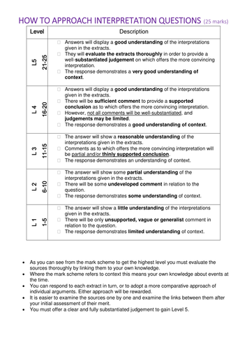 AQA  AS How to approach 25 mark interpretation source questions