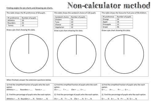 Drawing Pie Charts Worksheet With Extension By Tylersaunders