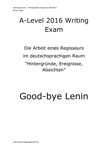 A2 German Writing Cultural Topic Good-bye Lenin und die DDR
