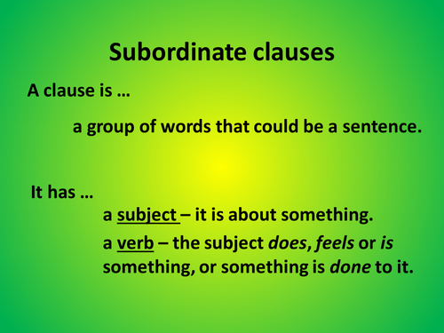 Main and subordinate clauses by graemejamieson Teaching – Subordinate Clauses Worksheet