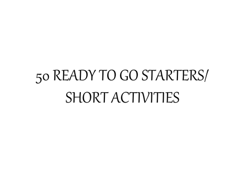 50+ English Starter Activities