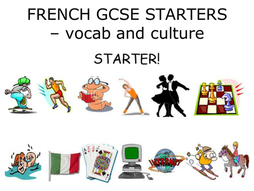 French GCSE Starter vocab and culture activity