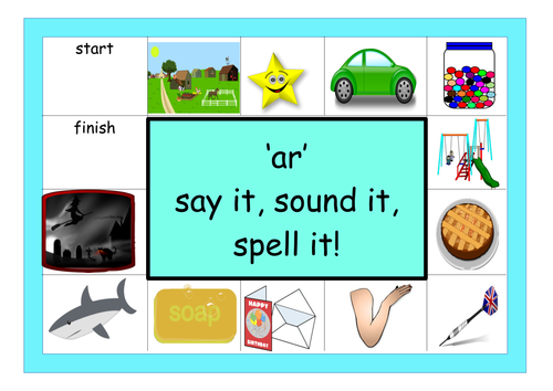 Sound it, Say it, spell it Phonics game Year 1 screen covers  ar ay oo air ir or ee igh ou ow