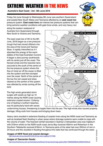 Extreme Weather Event: Australian east coast low June 2016 Summary Sheet
