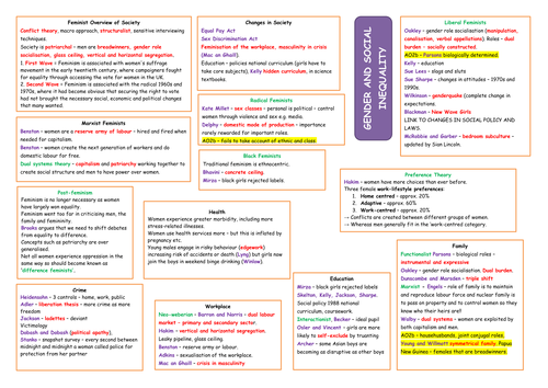 G674 Theories of Social Inequality and Difference -  A3 Revision Sheets