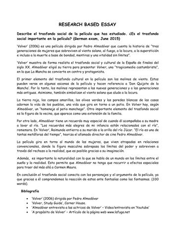 Volver, Pedro Almodovar. Research Based essay examples