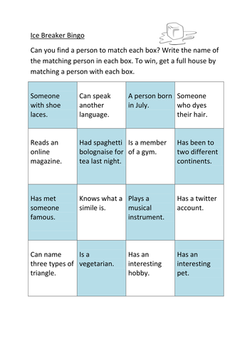 Starter ice breaker bingo by rachel teaching for Ice breaker bingo template