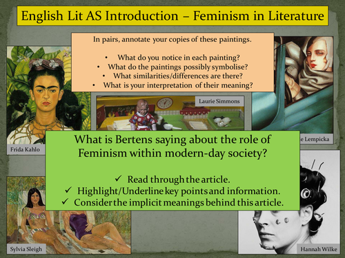 KS5: Introduction to Feminism (Lady Chatterley's Lover)