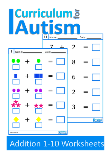 Worksheets Special Education Worksheets addition 1 10 worksheets autism special education by curriculumforautism teaching resources tes