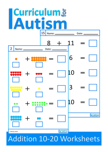 Addition 10-20 Worksheets, Autism, Special Education by ...