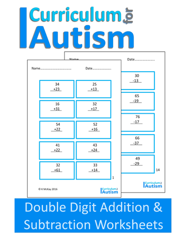 Double Digit Addition and Subtraction Worksheets, Autism by ...