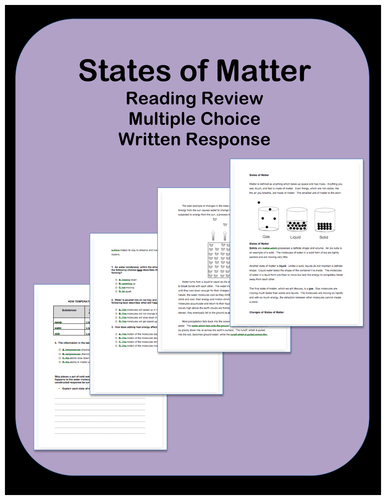States of Matter: Passages and Questions