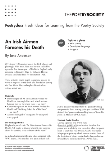 imagery in yeatss poem an irish airman foresees his death An irish airman foresees his deathwhat was going on in yeats' life and times when this poem was written.