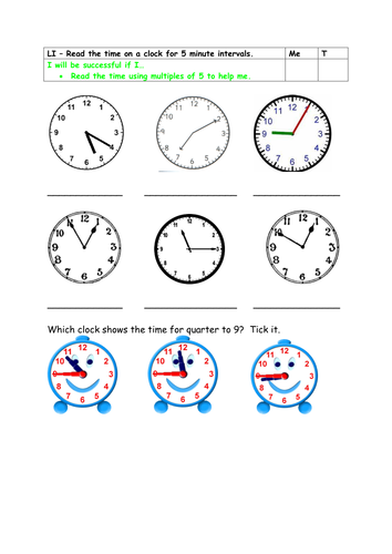 Year 2 greater depth - 5minute interval clocks