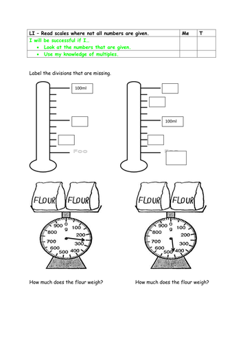 Year 2 greater depth - reading scales with missing divisions