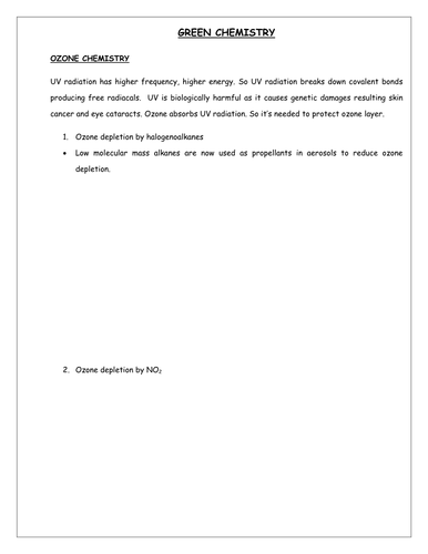 edexcel IAL unit 2 chemistry green chemistry