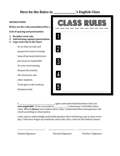 First Day of Class: Rules and Introduction (Powerpoint AND Activity)