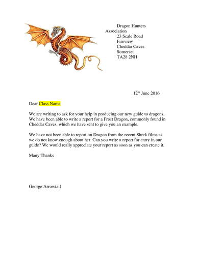 Non-Chronological Report/Information Text on Dragons with task letter from Dragon Hunters