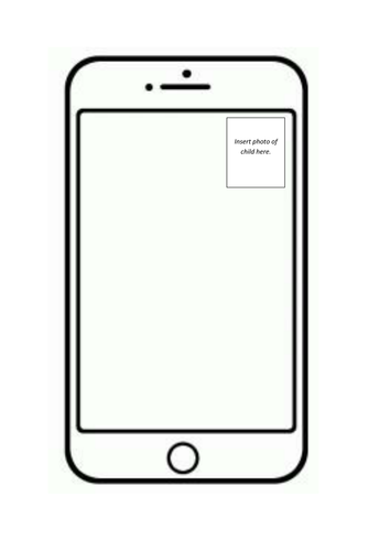 character cell phone writing activity template