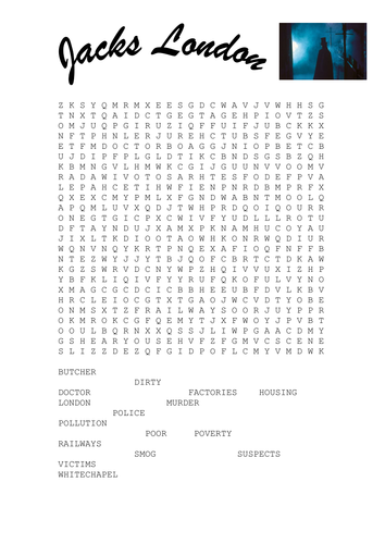 Jack the Ripper wordsearch